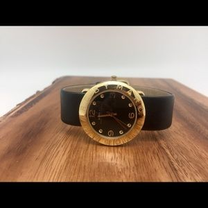 Marc Jacobs Amy Leather Watch, Black and Gold